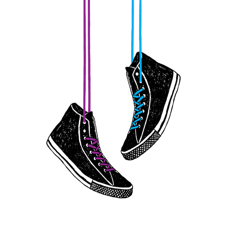 Hand drawn badge with sneakers textured vector illustration.