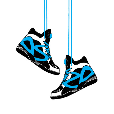 Hand getrokken kenteken met tennisschoenen geweven vectorillustratie. Stock Illustratie