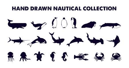 Hand gezeichnete strukturierte Seefischvektorillustrationen eingestellt.