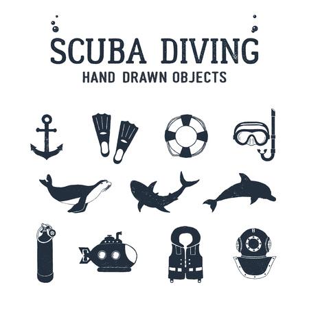 手描きダイビング関連テクスチャ ベクトル イラスト セットです。