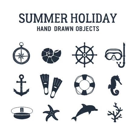 ●夏休み関連航海ベクトルイラストセットを手描き。  イラスト・ベクター素材