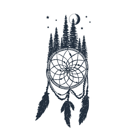 Hand drawn label with dream catcher and forest textured vector illustrations. Illustration