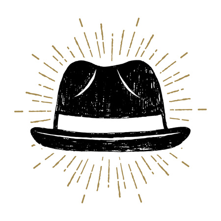 Hand drawn fedora hat textured vector illustration.