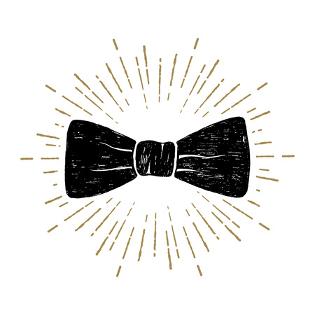 Hand drawn bow tie textured vector illustration.