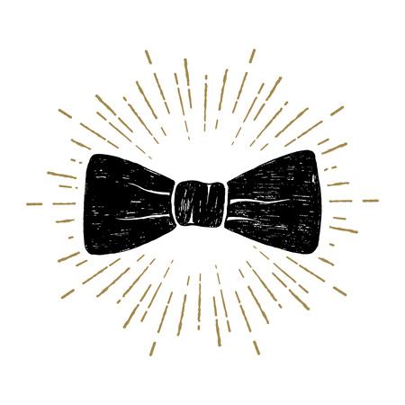Hand drawn bow tie textured vector illustration.