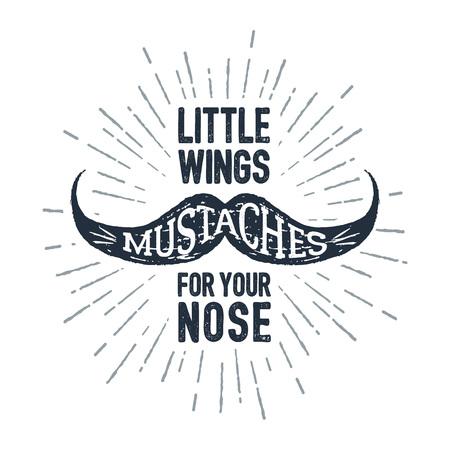 """Hand getrokken snor getextureerde vectorillustratie en """"snorren - kleine vleugels voor uw neus"""" belettering."""