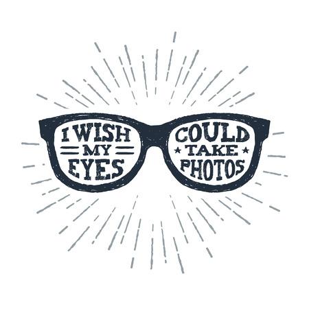 """Gafas de ojo dibujado a mano con textura ilustración vectorial y """"deseo que mis ojos puedan tomar fotos"""" letras. Foto de archivo - 89262163"""