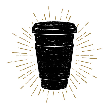 Hand drawn coffee cup textured vector illustration.