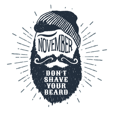 Hand drawn bearded face textured vector illustration and November. Dont shave your beard lettering.