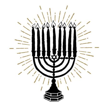 Hand drawn Hanukkah menorah textured vector illustration. Ilustração