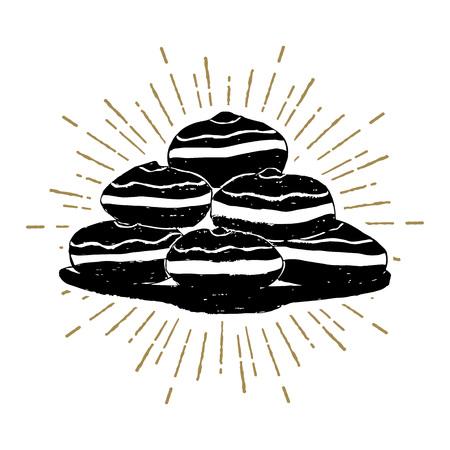 Hand drawn Hanukkah sufganiyot donuts textured vector illustration. Illustration