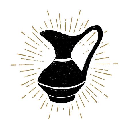 Hand drawn Hanukkah pitcher textured vector illustration.