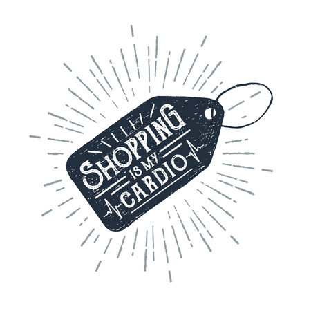 Hand drawn price tag textured vector illustration and Shopping is my cardio ironic lettering. Illustration