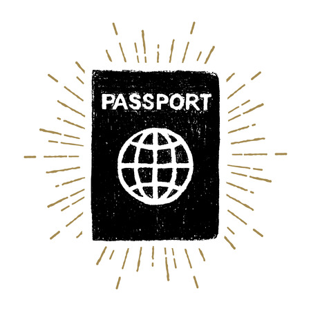 Hand drawn passport textured vector illustration.