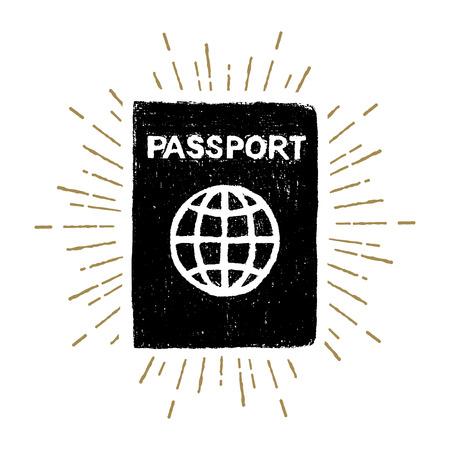 Hand drawn passport textured vector illustration.