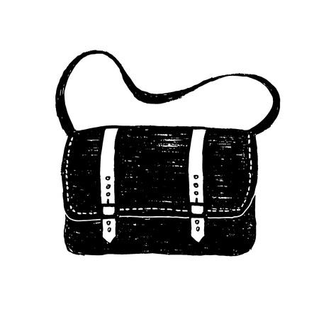Hand drawn messenger bag textured vector illustration. Illustration