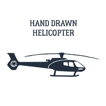 Hand drawn helicopter textured vector illustration.