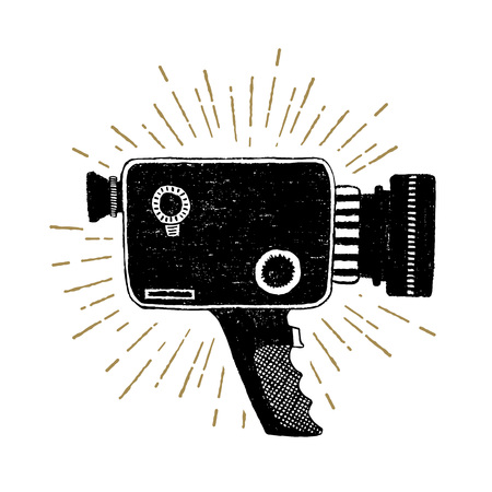 Hand drawn retro camcorder textured vector illustration. Çizim