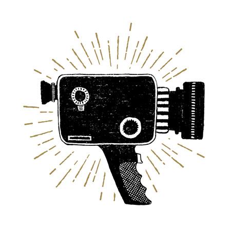 Hand drawn retro camcorder textured vector illustration. Illustration