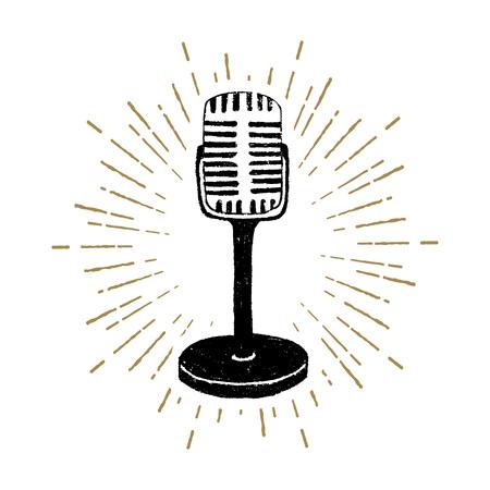 Hand drawn retro microphone textured vector illustration.