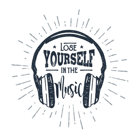 Hand drawn 90s themed badge with headphones vector illustration and