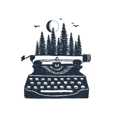Ręcznie rysowane retro maszyna do pisania i las sosnowy teksturowane ilustracje wektorowe.