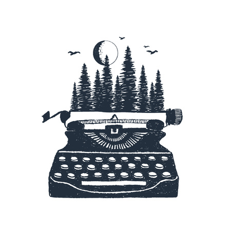 Retro illustrazioni disegnate a mano di vettore della foresta e della macchina da scrivere del pino.