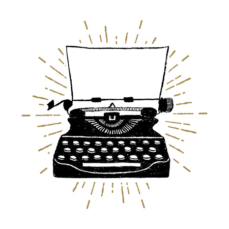 Hand drawn retro typewriter textured vector illustration. Stok Fotoğraf - 90041906