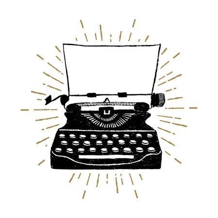 Ręcznie rysowane retro maszyna do pisania teksturowanej ilustracji wektorowych.