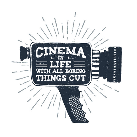 Hand drawn 90s themed badge with camcorder vector illustration and Cinema is life with all boring things cut out ironic lettering. Illustration