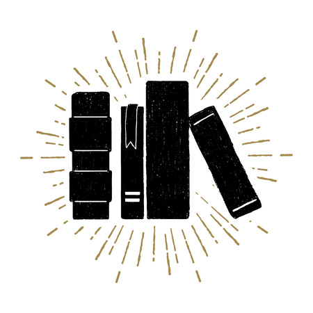 Hand drawn stack of books textured vector illustration. Vettoriali