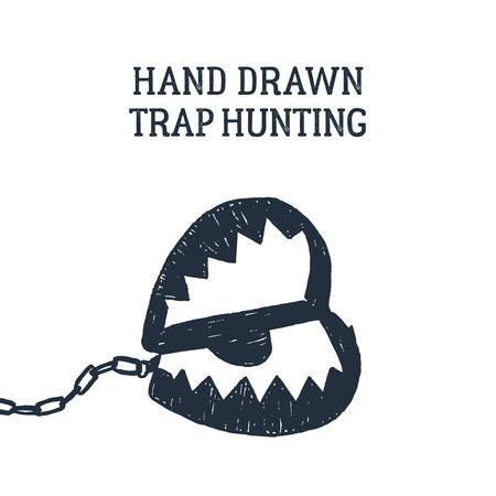 Hand drawn hunting trap textured vector illustration. Illustration