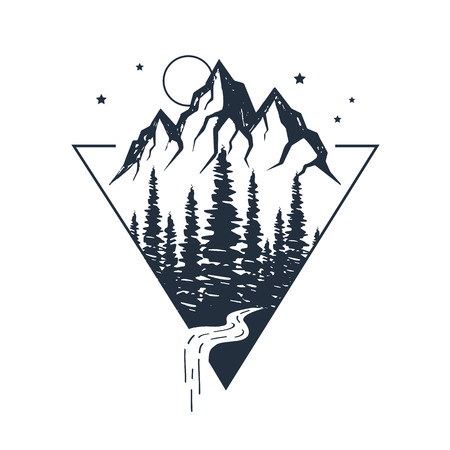Hand drawn inspirational label with pine trees and mountains textured vector illustrations. Vettoriali