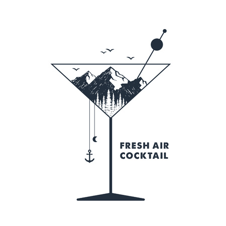 Hand drawn inspirational label with mountains in a cocktail glass textured vector illustration and Fresh air cocktail lettering.