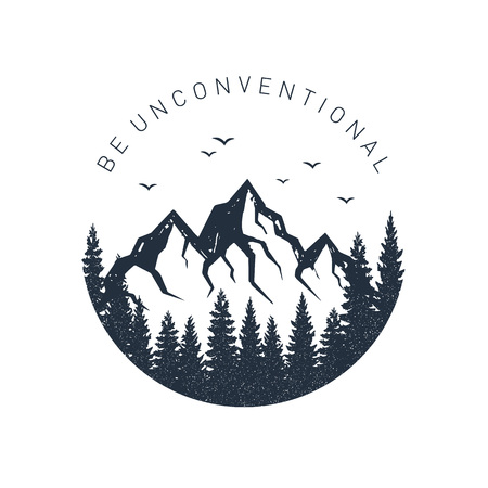 "Hand drawn inspirational label with pine trees and mountains textured vector illustrations and ""Be unconventional"" lettering."