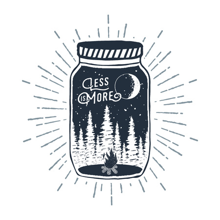 Hand drawn inspirational label with pine trees and bonfire in a jar textured vector illustration and Less is more lettering.