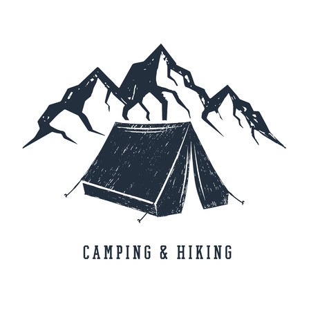 Hand drawn inspirational label with mountains and camping tent textured vector illustrations and Camping and hiking lettering.