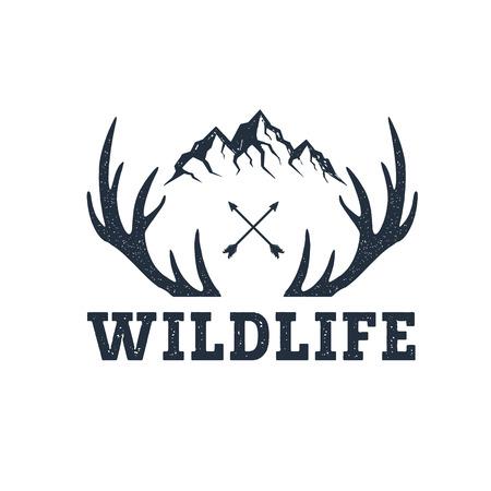 山に描かれた感動のラベルを手し、アントラーズ テクスチャ背景イラストと「野生動物」の文字。  イラスト・ベクター素材