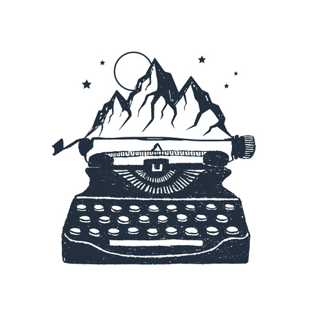 Hand drawn retro typewriter and mountain peaks textured vector illustrations. Иллюстрация