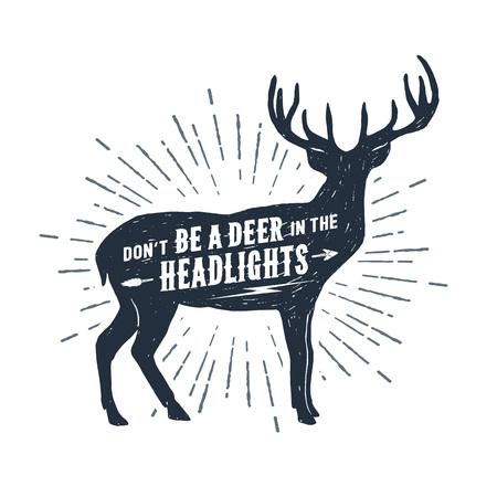 """Hand getrokken herten getextureerde vectorillustratie en """"Wees niet een hert in de koplampen"""" belettering. Vector Illustratie"""