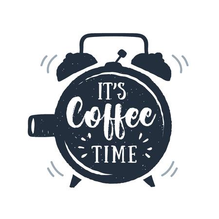 手描き下ろし目覚まし時計テクスチャのベクトル図と「それのコーヒー タイム」の文字。  イラスト・ベクター素材