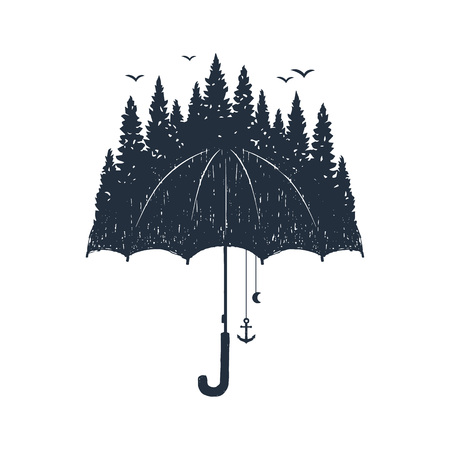 Hand drawn umbrella and pine forest textured vector illustrations.