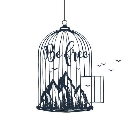 """Cage dessinée à la main avec illustration vectorielle de montagnes texturées et lettrage inspirant """"Be free""""."""
