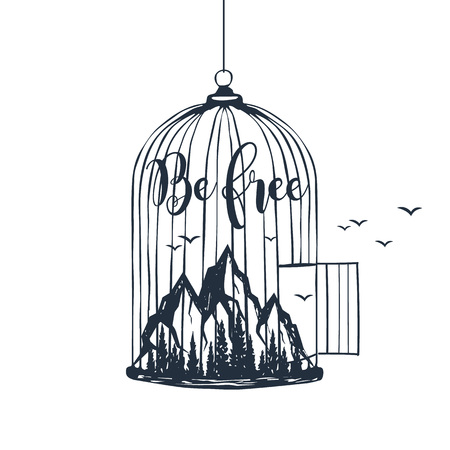 Hand drawn cage with mountains textured vector illustration and Be free inspirational lettering.