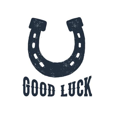 """Illustration de vecteur texturé fer à cheval dessinés à la main et lettrage inspirant """"Bonne chance"""". Vecteurs"""