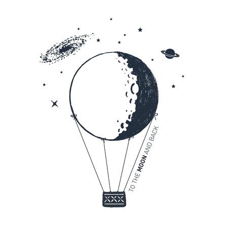 """Hand getekende luchtballon getextureerde vectorillustratie en """"Naar de maan en terug"""" belettering."""