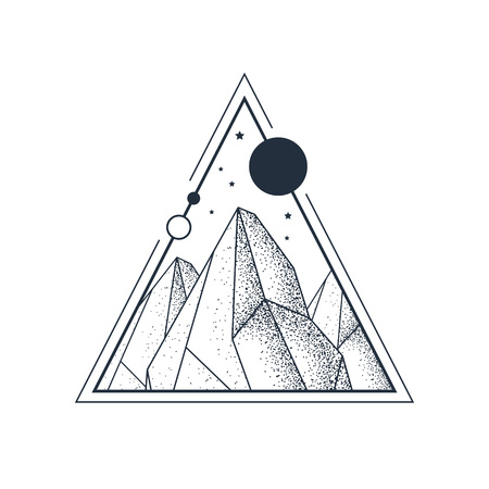 Hand drawn mountains textured vector illustration in a triangle. Geometric style. Illustration