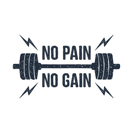 Hand drawn barbell textured vector illustration and No pain - no gain inspirational lettering. Ilustração