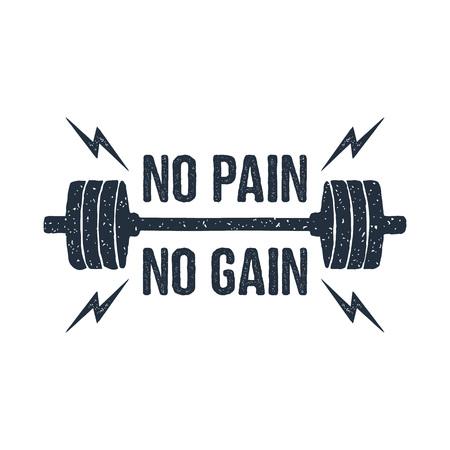 Illustration vectorielle texturée haltères dessinés à la main et lettrage inspirant «Aucune douleur - pas de gain». Vecteurs