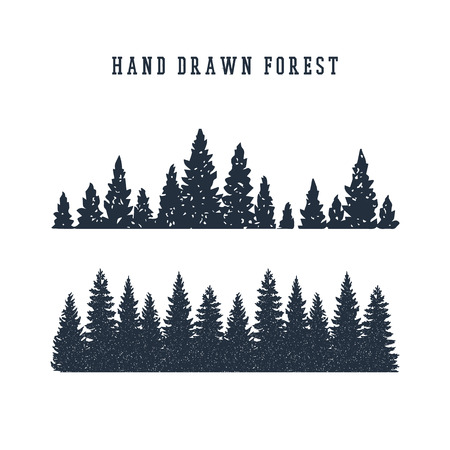 Hand drawn pine forest textured vector illustration. 免版税图像 - 91396592